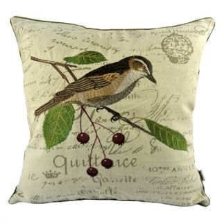 New Vintage Red Cherries Thrush Bird Embroidery Pillow Case Cushion Cover Sham