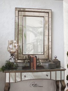"XL Large Art Deco Glamour 50"" Wall Mirror Antiqued Beveled Mirrors Horchow"