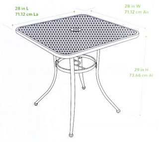 "New 28"" Black Bistro Table Wrought Iron in Outdoor Cafe Patio Metal Mesh Top"