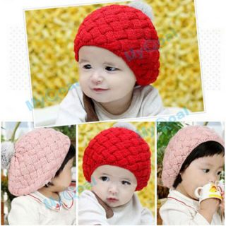 Cute Winter Knit Crochet Beanie Hat for Baby Kids Girls Toddler Gift Faux Fur