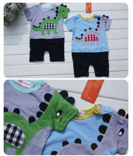 Baby Toddlers Clothing Boys T Shirt Dinosaur Romper Jumpsuit Outfit Set Sz 1 3Y