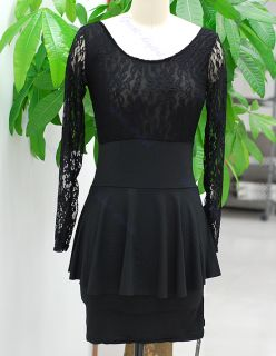 Women Sexy Long Sleeve Lace Clubbing Cocktail Party Dress Mini Evening Black