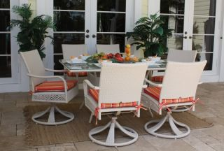 Outdoor Wicker Dining White 7 Piece Swivel Rocker Chairs Table Grenada Cushions