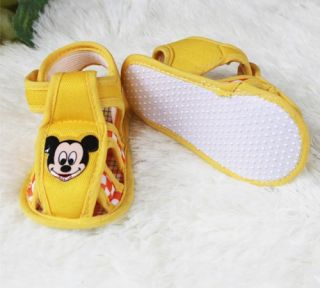 Yellow Infant Boy Chic Patent Soft Sole Sandals Mickey Mouse Prince Baby Shoes