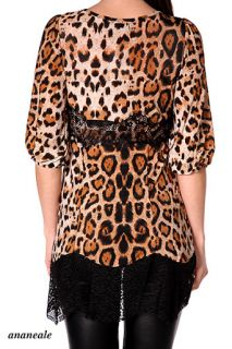 Ladies Leopard Blouse Lace Dress Animal Print Top Brown Long Sleeve Shirt 8 12