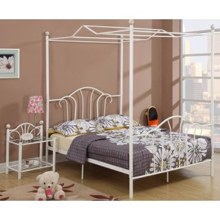 Simple Design Girl Youth Kids Bedroom Furniture White Metal Twin Full Canopy Bed