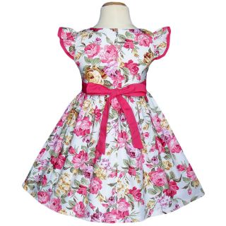 Flower Pink Birthday Party Clothing Baby Girls Dresses Kids Size 2 7 Year