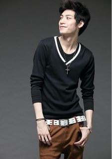 Swept The South Korean Fashion New V Neck Design Men's Long Sleeved T Shirt