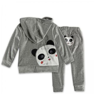 Baby Toddler Panda Hoodie Outerwear Top Pant Boy Girl Children Clothing 2pcs Set