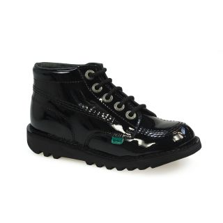 Kickers Kick Junior Black Patent Leather Kids School Boots Shoes Size 12 5 2 5