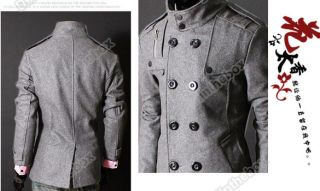 Men Slim Designed Coat Jacket Stylish Woolen Double Pea Trench Topcoat Outerwear