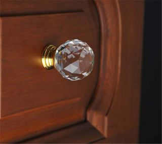 30mm Crystal Glass Door Knob Drawer Pull Cabinet Kitchen Handle Wardrobe 10color