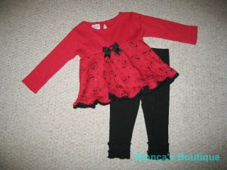 "New ""Ladybug Doodle"" Pants Girls Baby Clothes 12M Fall Winter Legging Boutique"