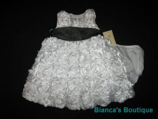 "New ""Pure White Roses"" Dress Girls Baby Clothes 12M Spring Summer Boutique 2 PC"