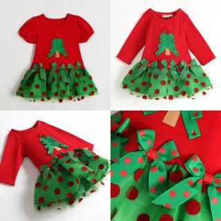 2014 Baby Girls Christmas Tree Dress Xmas Holidays Birthday Toddles Dress Gift