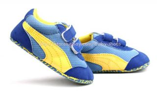 Baby Boy Girl Yellow Blue Soft Sole Shoes Toddler Sneakers Newborn to 18 Month
