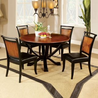 5 PC Unique Design Two Tone Large Smooth Round Table Soft Seat Chair Dining Set