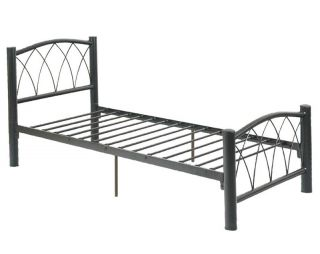 Modern Arched x Patterns Youth Kids Boys Black Durable Metal Twin Full Slats Bed