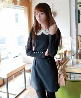 Fashion Womens Dresses Lace Baby Doll Collar Casual Long Sleeve Top Mini Dress S