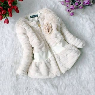 New Kids Toddler Girls Faux Fur Fleece Zipper Lined Coat Kids Winter Warm Jacket