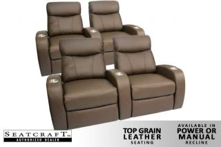 Rialto Home Theater Seating 4 Seats Brown Power Recliners Leather Chairs