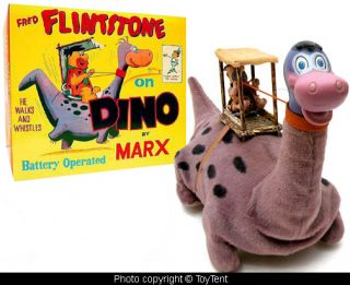Flintstones Fred on Dino Battery Op Marx Toys 1962