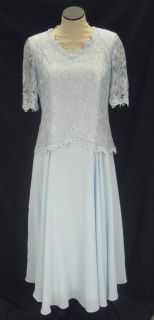 Lori Max Beautiful Sky Blue Lace Long Formal Mother of The Bride Dress S36