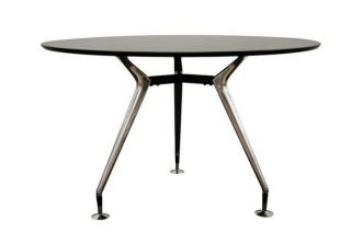 Rissa Modern Round Dining Table Black Steel Legs