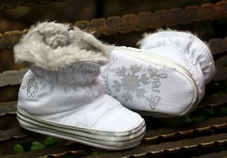 Baby Girls White Snow Boots Faux Fur Lined Crib Shoes Size Newborn TO18 Months