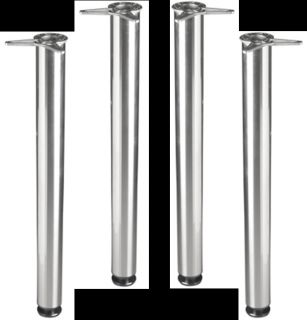 4 Round Polished Chrome Metal Kitchen Table Legs Adjustable Office Desk 50005 4