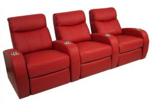 Seatcraft Rialto Home Theater Seating 3 Seats Red Recliners Leather Power Chairs