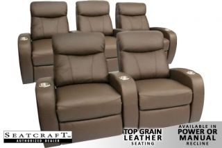 Rialto Home Theater Seating 5 Seat Brown Leather Chairs
