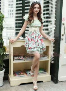 Sweet Casual Womens Girl Korean Floral Chiffon Tunic Mini Dress with Belt Summer