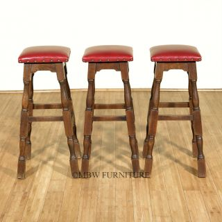 Set 3 Antique Traditional Solid Oak Maroon Leather Square Seat Bar Stools C1940