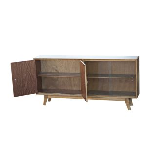 "60"" Vintage Mid Century Modern Wood Glass Display Cabinet"