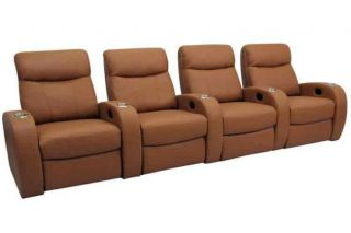 Rialto Home Theater Seating 4 Seats Beechwood Leather Power Chairs