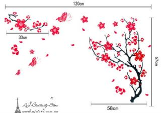Large Plum Blossom Wall Stickers Wall Decal Removable Art Home Mural Deco AU