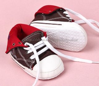 Baby Boy Girl Lace Up Walking Shoes Soft Sole High Top Sneakers Size 3 12 Months