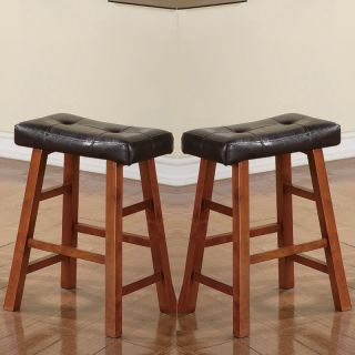 Set of 2 White Black Brown Walnut Faux Leather Seat Counter Height Saddle Stools