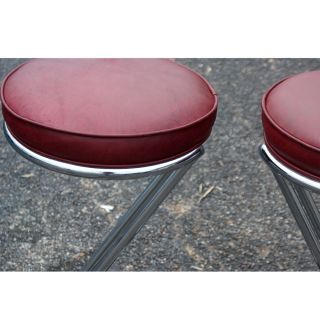 2 Art Deco Machine Age Gilbert Rohde Stools Leather
