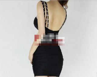 Womens European Fashion Sexy Bra Beads Hollow Clubwear Style Mini Dress E836C