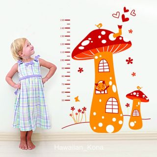Mushroom House Growth Chart Ruler Removable Wall Sticker Decal
