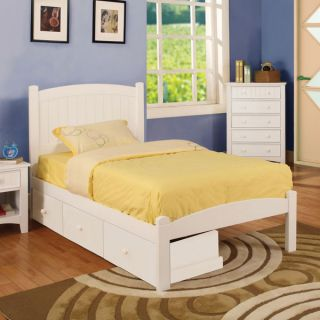 Caren Youth Twin Size White Bed Frame w Storage Drawers