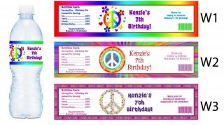 Flower Peace Sign Printed Water Bottle Labels Birthday Party Favors Supplies