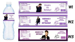 Justin Bieber Printed Water Bottle Labels Birthday Party Favors Supplies