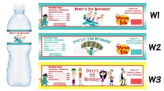 Phineas and Ferb Printed Water Bottle Labels Birthday Party Favors Supplies