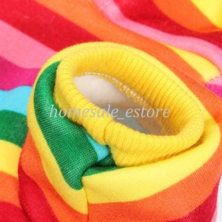 Pet Dog Warm Clothes Winter Strawberry Rainbow Hoodie Apparel Sweater Stripe New