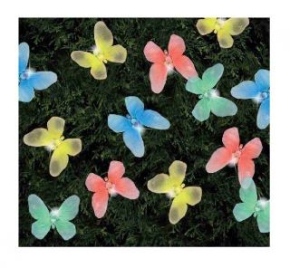 20 LED Garden Party Solar Powered Rechargeable Butterfly String Fairy Lights