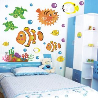 Tropical Deep Sea Ocean Fishes Turtle Wall Sticker Decal