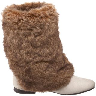 New Womens Unionbay Amelia Winter Fur Suede Knee White Cream Boots 8 8 5 9 5 10